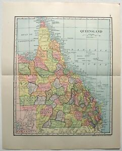 Original 1903 Map Of Queensland By Dodd Mead Company Australia