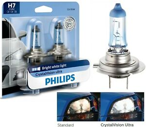 Philips Crystal Vision Ultra H7 55w Two Bulbs Light Turn Cornering Lamp Replace