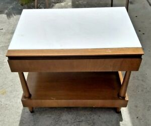 Mid Century Modern Designer John Stuart Danish Night Stand End Table Marble Top