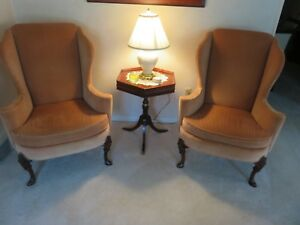 Vtg Pair Sherrill Of Hickory Chippendale Style Peach Velour Wingback Arm Chairs