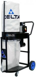Delta Dust Collector 1hp Steel Base Snap in Filter Bag Casters Gliding Wheels