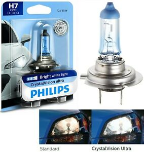 Philips Crystal Vision Ultra H7 55w One Bulb Head Light High Beam Replacement Oe
