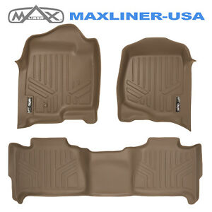 Smartliner Custom Fit Floor Mats Set Tan For Tahoe yukon suburban yukon Xl