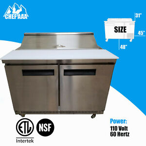 48 Sandwich Salad Pizza Prep Table Commercial Refrigeration 12 Pan Capacity Nsf