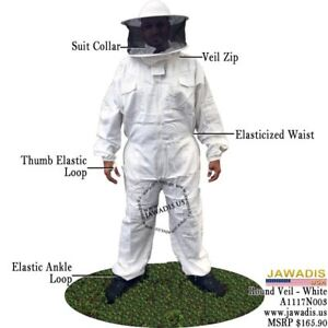 3xl Adult White Sheriff Round Veil Pest Control Bee Keepers Beekeeping Bee Suit