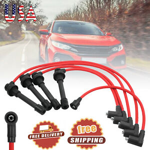 5pcs Spark Plug Ignition Wire Set High Perfomance For Honda Accord Civic Core