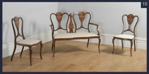 Antique Victorian Three Piece Mahogany Satinwood Salon Suite Sofa Couch Chairs
