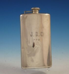 Meriden Brittania Sterling Silver Flask With Mono J D C 8 X 4 1 2 2460