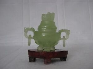 New Natural Green Jade Hand Carving Incense Burner With Wood Stand 3