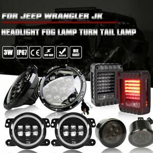 7 Led Headlight Fog turn Signal Lamp tail Light For Jeep Wrangler Jk 07 17