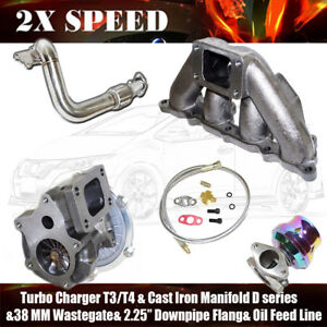 T3 t4 Turbo cast Manifold wastegate flange oil Feed Line For 88 00 Civic D15 d16