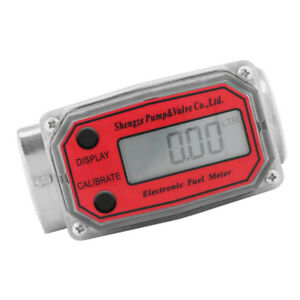 Lcd Turbine Digital Fuel Flow Meter Anti corrosion Diesel Oil Red Llw 25
