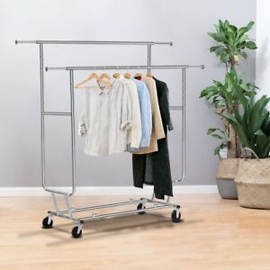 Double Commercial Industrial Collapsible Clothes Rolling Garment Rack Rail Wheel