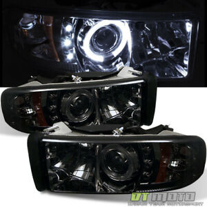 Smoked 1994 2001 Dodge Ram 1500 Dual Led Halo Projector Headlights Left right