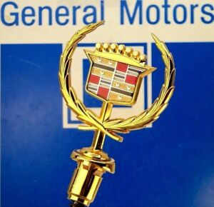 New 88 91 Cadillac Seville Eldorado Gold Hood Ornament Nos Clip On Style Emblem