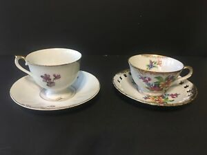 Vintage Tea Cups And Saucers Sets Lot Of 2