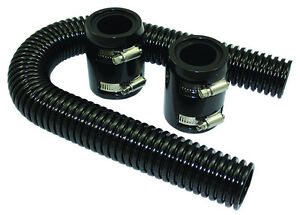 24 Black Stainless Flexible Radiator Hose Kit W Billet Clamp Covers Chevy Ford