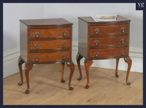 Antique Pair Queen Anne Style Walnut Bow Front Bedside Chests Tables Nightstands