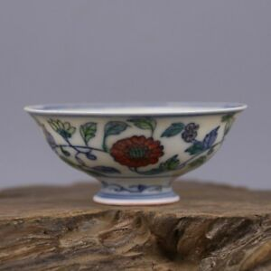 3 4 Collect Old China Doucai Porcelain Flower Painted Bowl Teapot Cup