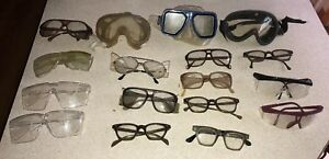 Lot Of 17 Vintage Retro Safety Glasses Goggles Some W Side Shields
