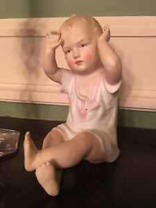 Antique Old German Heubach Bisque Porcelain Sitting Piano Baby 6 1 2