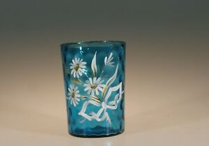 Victorian Glass Blue Coin Dot Tumbler Handpainted Daisies With Bow C 1890