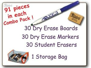 30 Student Blank Dry Erase Boards Combo Pack Double Sided With Dry Erase And