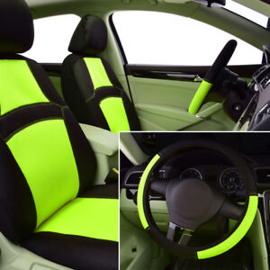 Universal 2 Front Car Seat Covers Steering Wheel Cover Green Breathable Mesh 9pc