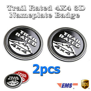 2pcs Black For Jeep Trail Rated 4x4 Emblem Wrangler Decal Badge Custom Logo