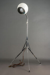Vintage Midcentury Gooseneck Eyeball Floor Lamp White Shade Chrome Tripod Base