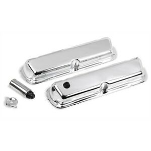 Holley 241 81 Ford Chrome Valve Covers 4 bolt Stamped Steel Short