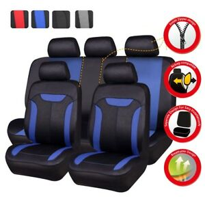 Universal Car Seat Covers Blue Black Auto Seat Protector Airbag Fit 60 40 50 50