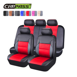 Universal Car Seat Covers Leather Airbag Accessories Red For Girls Women 60 40