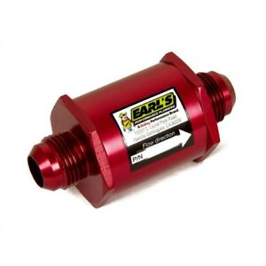 Earls 230316erl In Line Oil Filter 16 An Red Anodized
