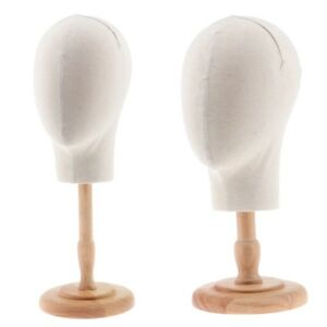 2x Canvas Fiberglass Mannequin Head With Stand For Wigs Hats Making Display