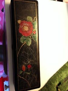 Vintage Antique Black Lacquer Red Flower Painted Rectangle Box With Lock Japan