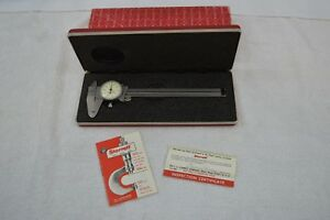 Starrett 120 6 Stainless Steel White Dial Caliper W Case Excellent Condition