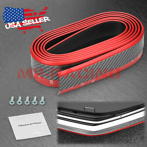 Universal Red Black Rubber Front Bumper Lip Splitter Spoiler Chin Body Kit Diy