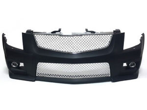 08 13 Cadillac Cts v Style Front Bumper W Chrome Front Grille With Fog Lights