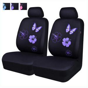 6pcs Universal 2 Front Car Seat Covers Purple Butterfly For Honda Ford Vw Toyota