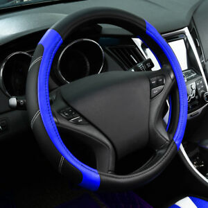 Universal Blue Luxury Leather Steering Wheel Cover Fit Ford Honda Toyota 38 Cm