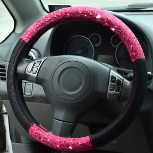 Universal Fashion Car Steering Wheel Cover Pink Lace 38 Cm Breathable For Girls