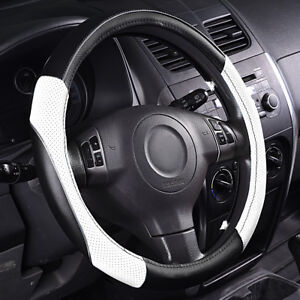 Universal White Leather Steering Wheel Cover Waterproof Fit Ford Honda Vw 38 Cm