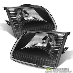 Black 1997 2004 F150 Expedition 97 99 F250ld Crystal Headlights Lamps Left right