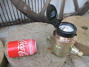 Functional Vintage 1970s Tagus Lisboa Watermeter Water Meter Brass And Copper