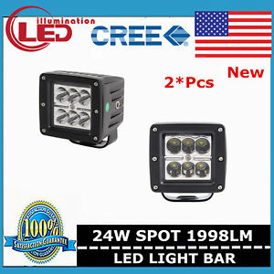 2x 3inch 24w Led Work Light Spot Pods Off Road Driving Boat 3x3 Suv Ford Square