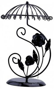 Black Metal Rose Umbrella Necklace Fashion Jewelry Display Stand Holder