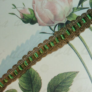 Gold Metal Trim W Silky Green Tape For Ruching Ribbon Work Antique Vtg Lace 5 8