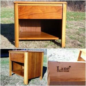 Vintage Mid Century Modern Lane Walnut Night Stand End Table Storage W Drawer