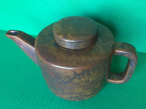 Mcm Per Lutken L Hjorth Danish Modern Teapot Stoneware Brown Black Signed No L5